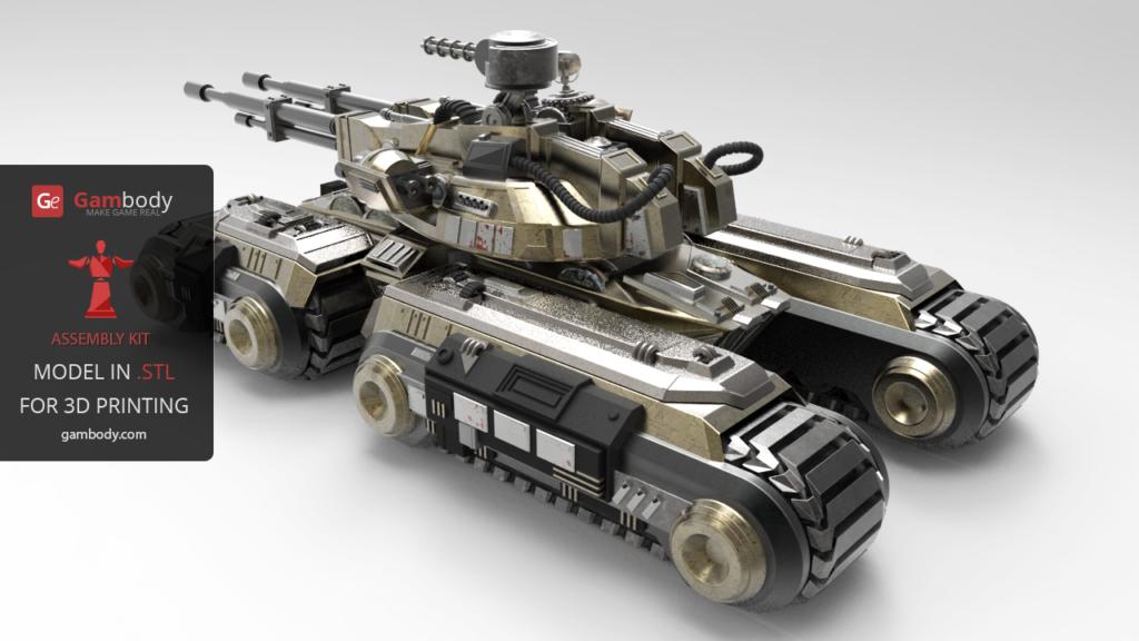 Mammoth Tank 3D Printed on Metal