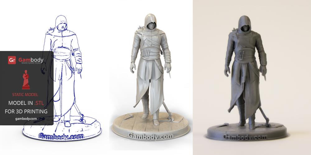Assasin 3D Model printed on 3D PLA Filament.