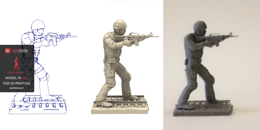 Counter-Strike Terrorist Printed on PLA 3D Filament.