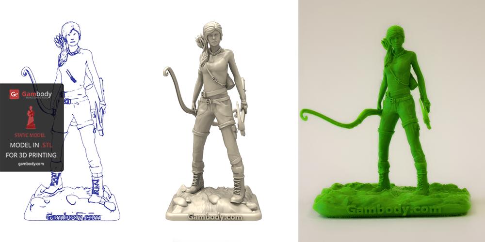 Lara Croft 3D Model Printed on PLA Filament.