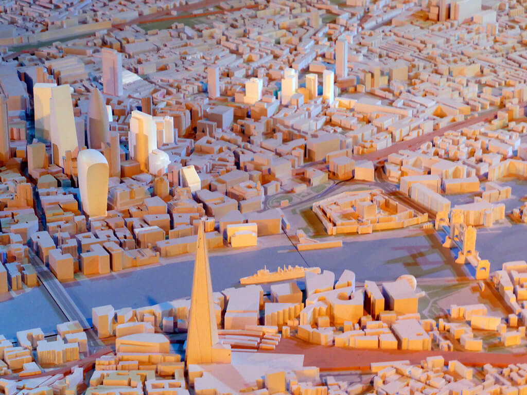 3D printed scale model of London city