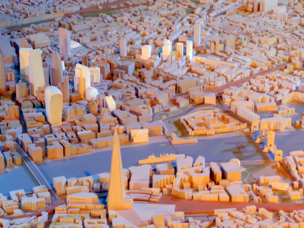 A scale model of London city.