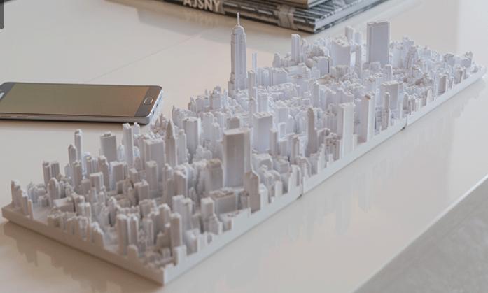 3D printed microscape NY island.
