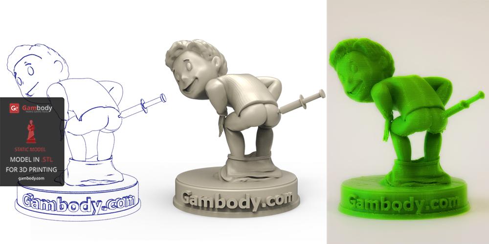 Vault Boy 3D Printed on PLA Filament.
