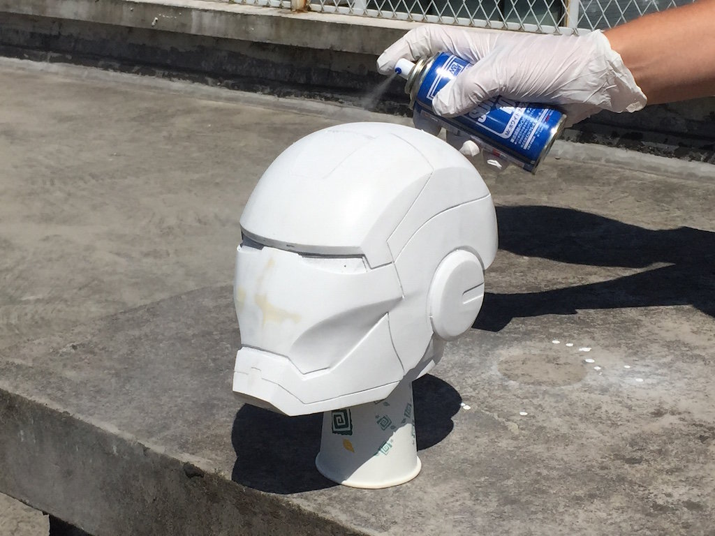3D printed helmet primer coated