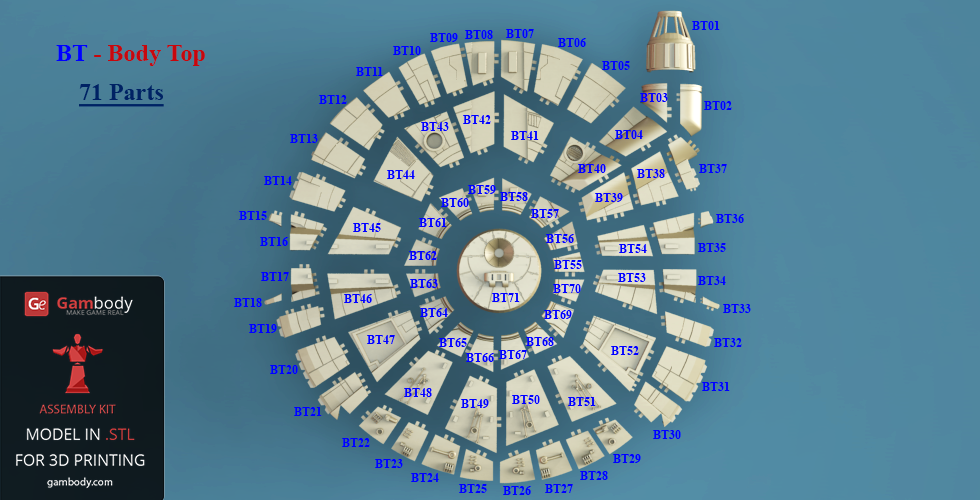 Number of top body Millennium Falcon parts