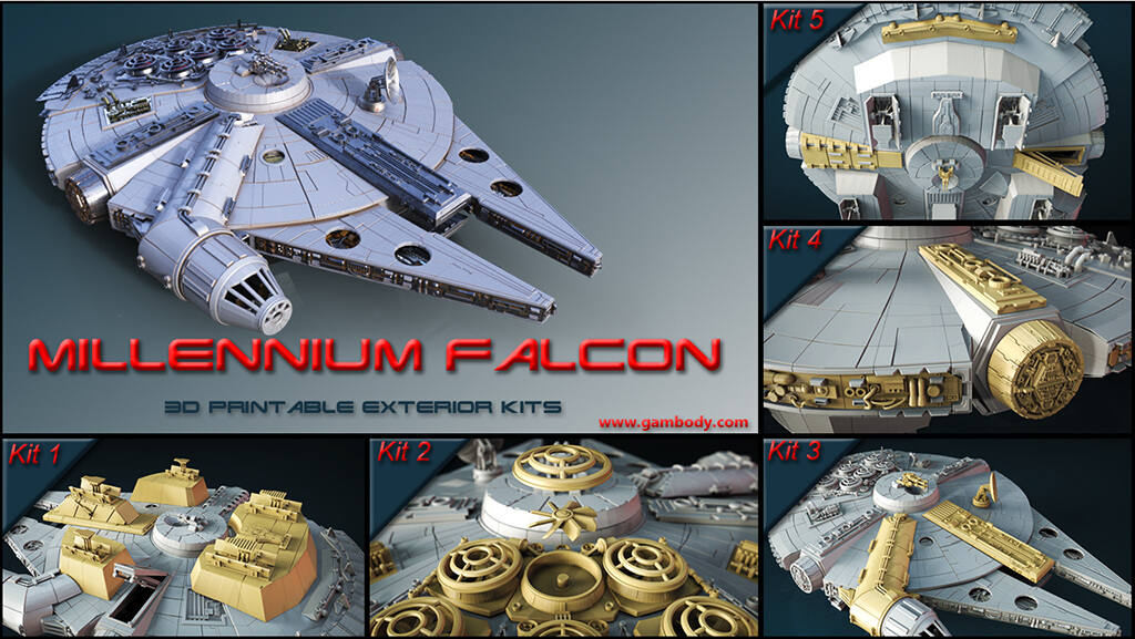 Millenium Falcon exterior 5 kits