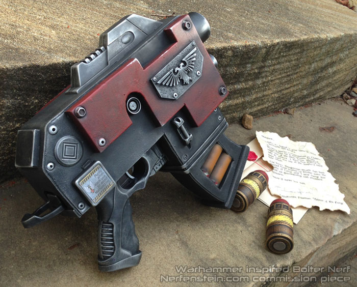 Custom-made 3D printable Warhammer40k bolt gun