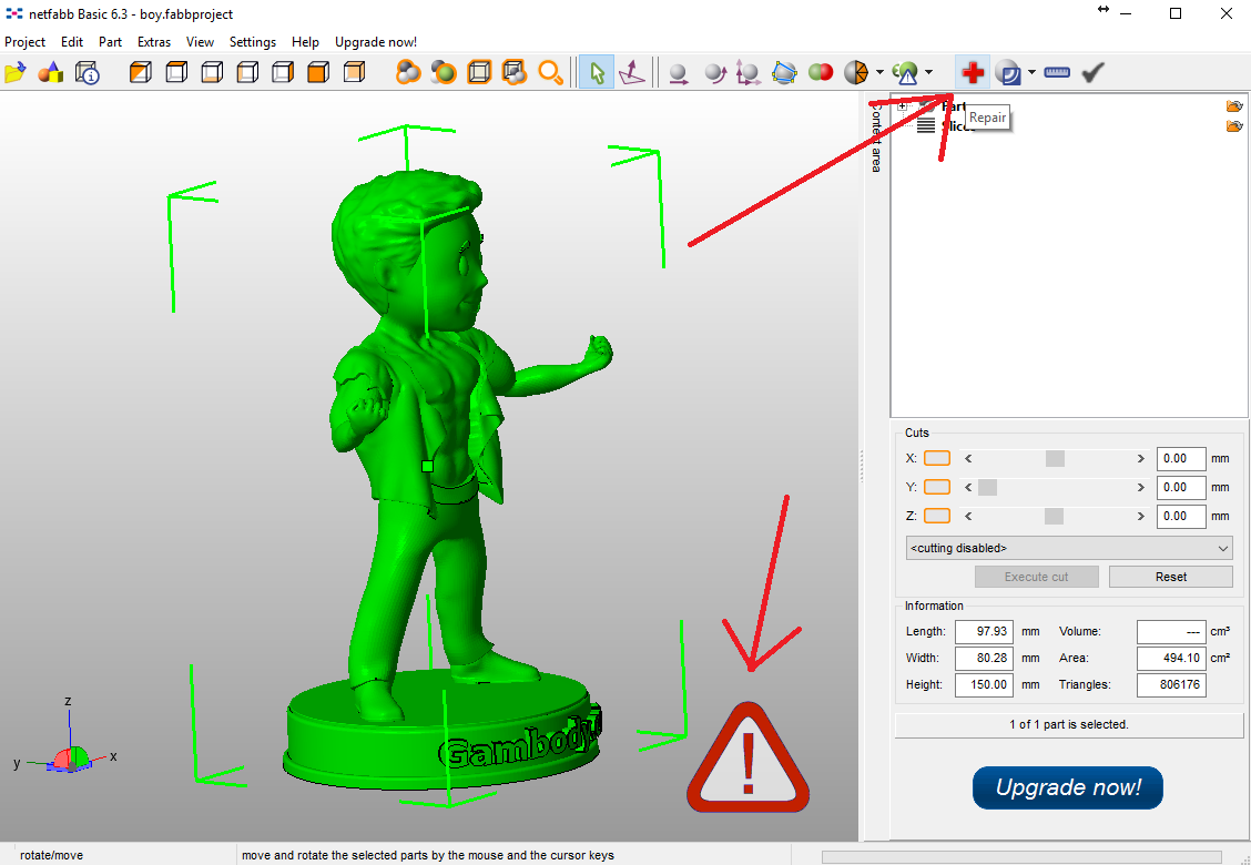 Repair model in Netfabb.