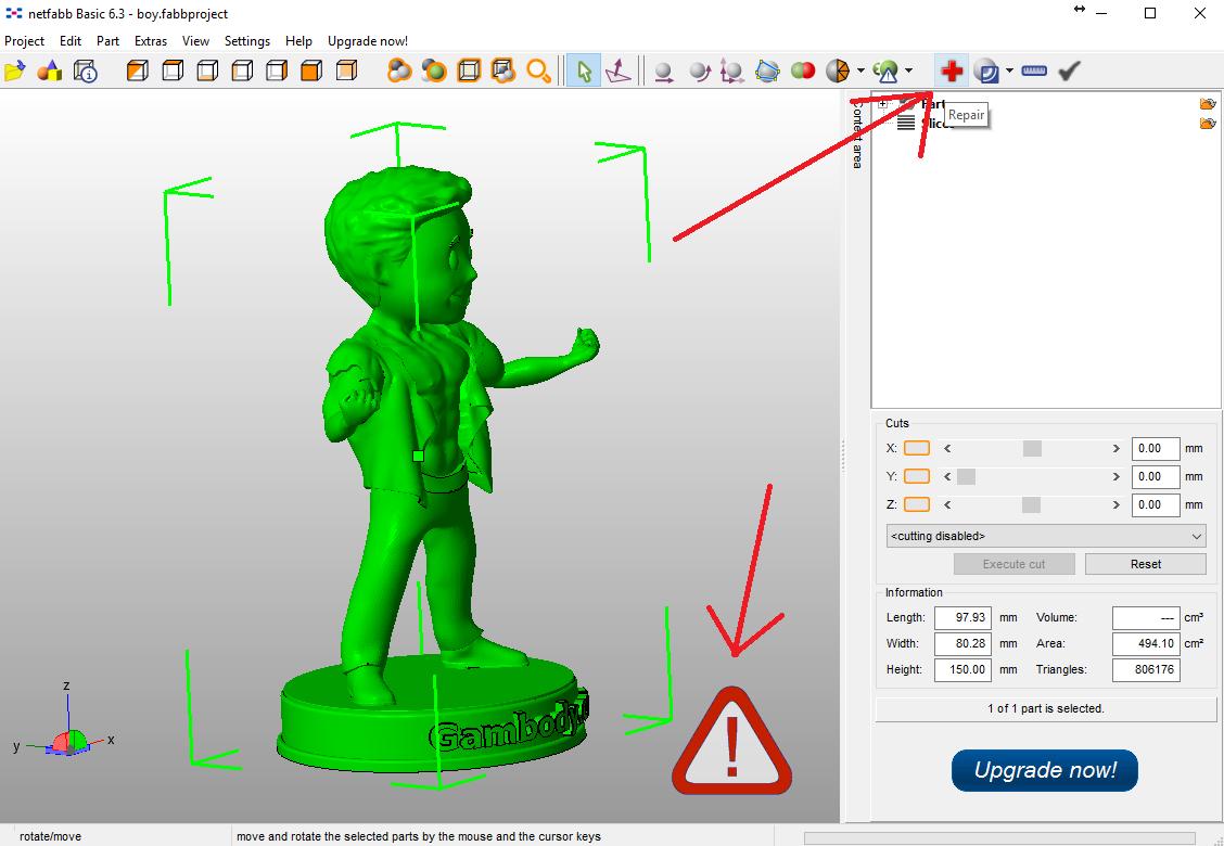 Repair model in Netfabb.