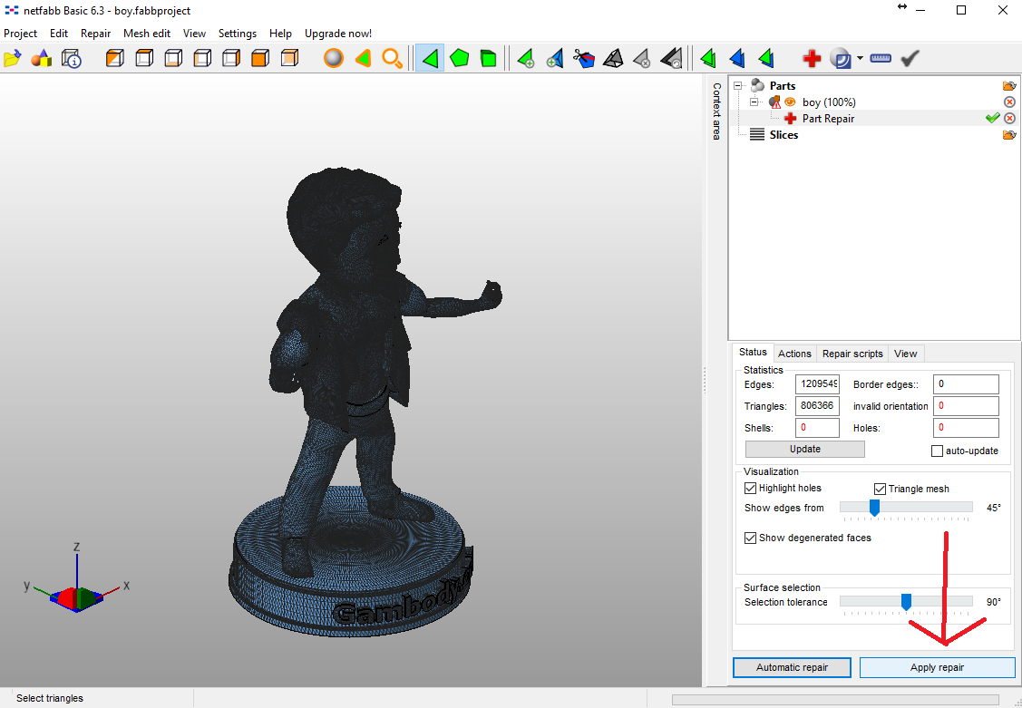 Repair STL files in Netfabb.