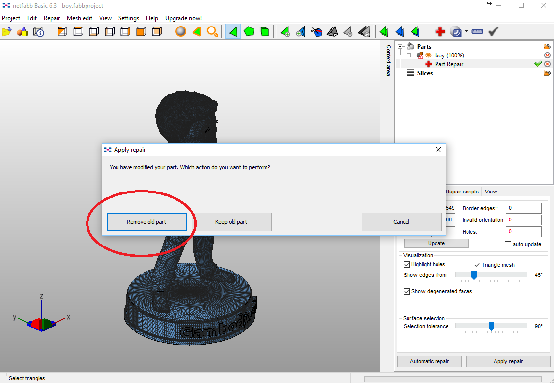 Remove old part STL file.