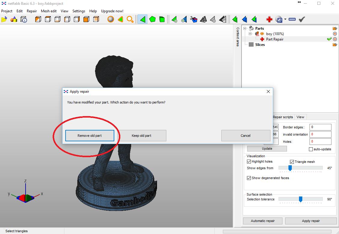 Remove old part STL file.