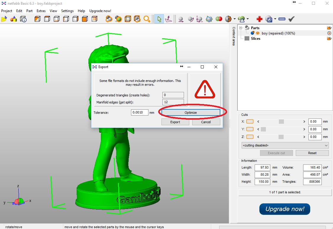 Optimize STL files before exporting.