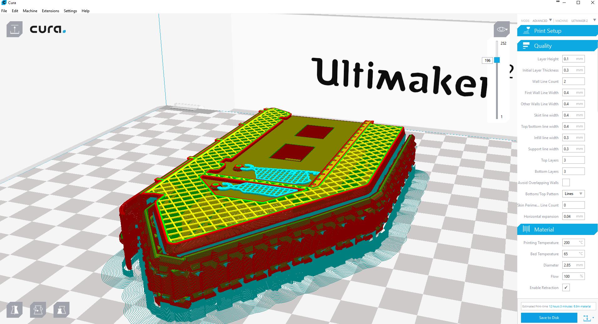 Layers of model in Cura slicer
