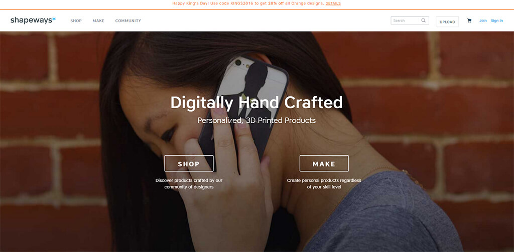 Shapeways 3D printing services worldwide