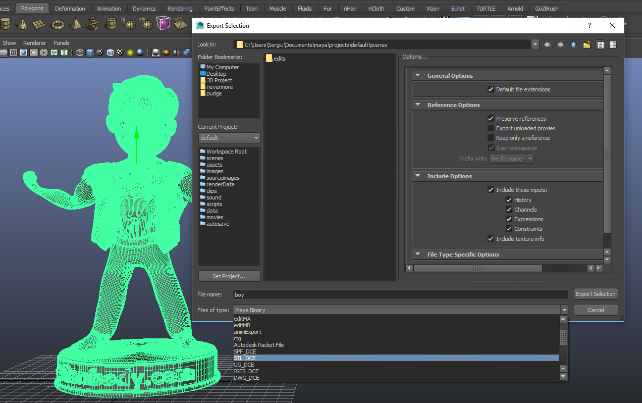 Autodesk Maya Screenshot- Vault boy Model.