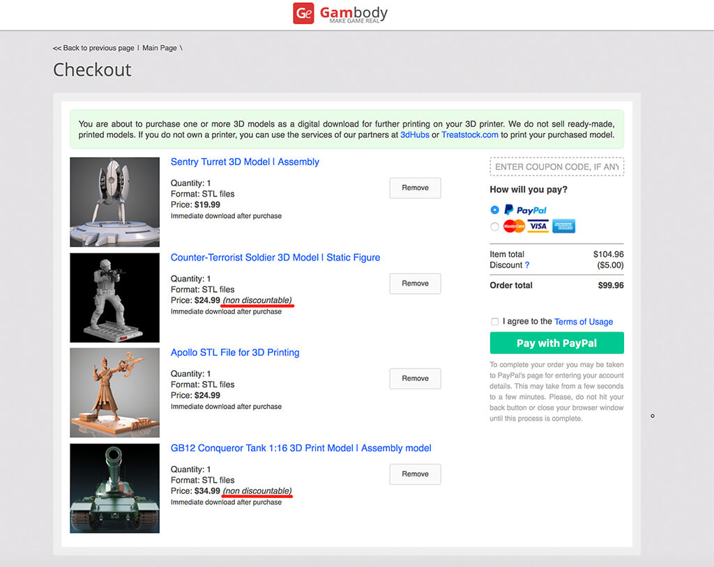 Gambody non-discountable items for 3D printing