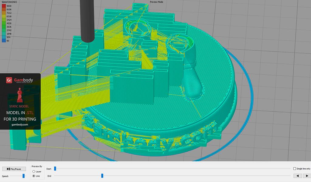 Vault Boy 3D model slicing software