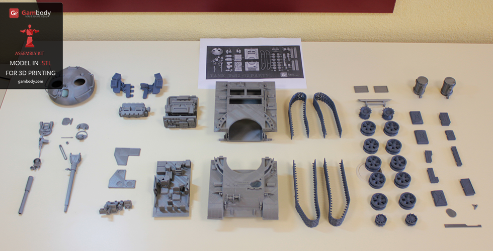 62 separate 3D printed components of T-62 model