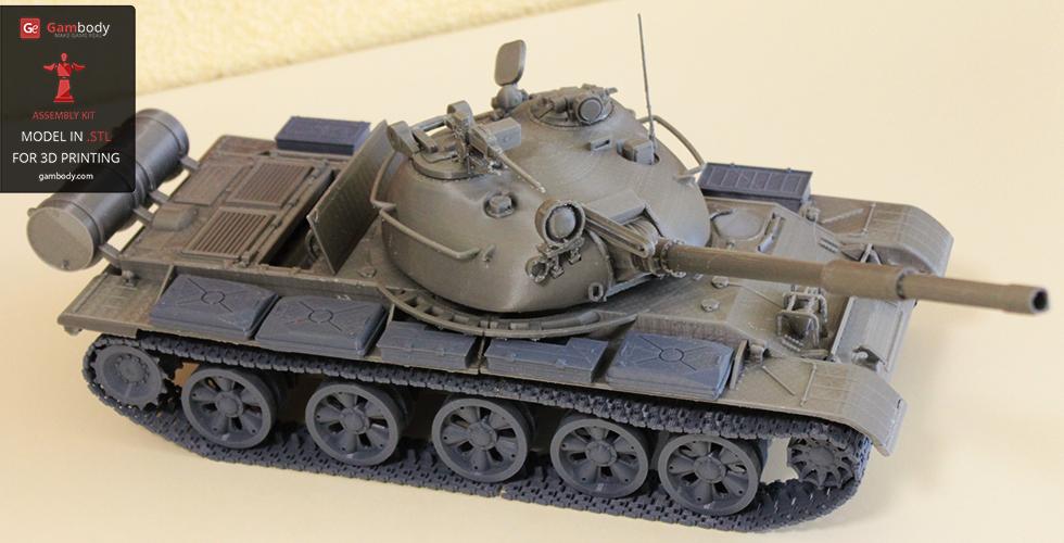 Soviet tank 3D model in printed form