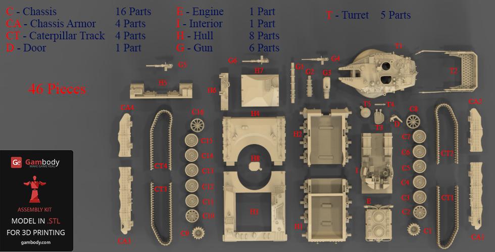 Merkava 3D Printer Files - 45 Parts.