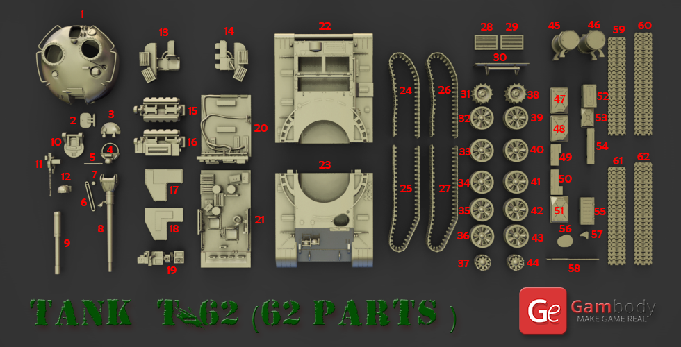 T-62 Tank 3D model
