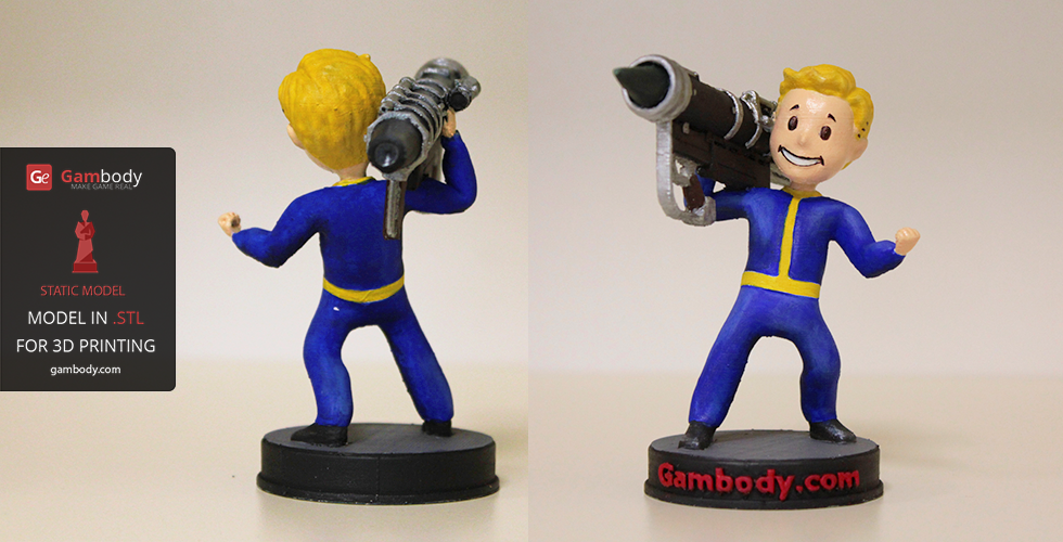 3d printed and painted vault boy model