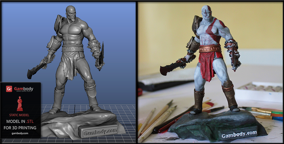 God of War Kratos 3D Model: Digitally Crafted and Manually Painted