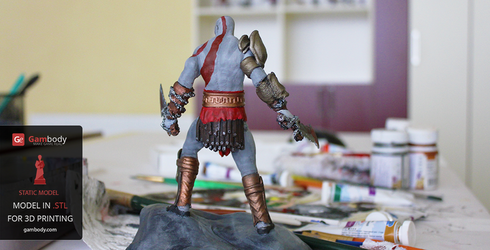 God of war Kratos 3d printed and painted model