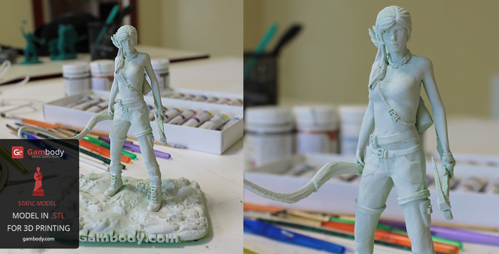 White primer was used to cover the 3D model's PLA green color prior to painting