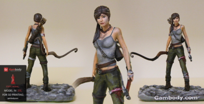3D Printed and Painted Lara Croft – Press Release by Gambody