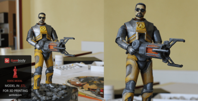 Gordon Freeman 3D Model: Printed and Painted – Press Release by Gambody