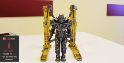 Printed and Painted Tesla Power Armor 3D Model – Press Release by Gambody