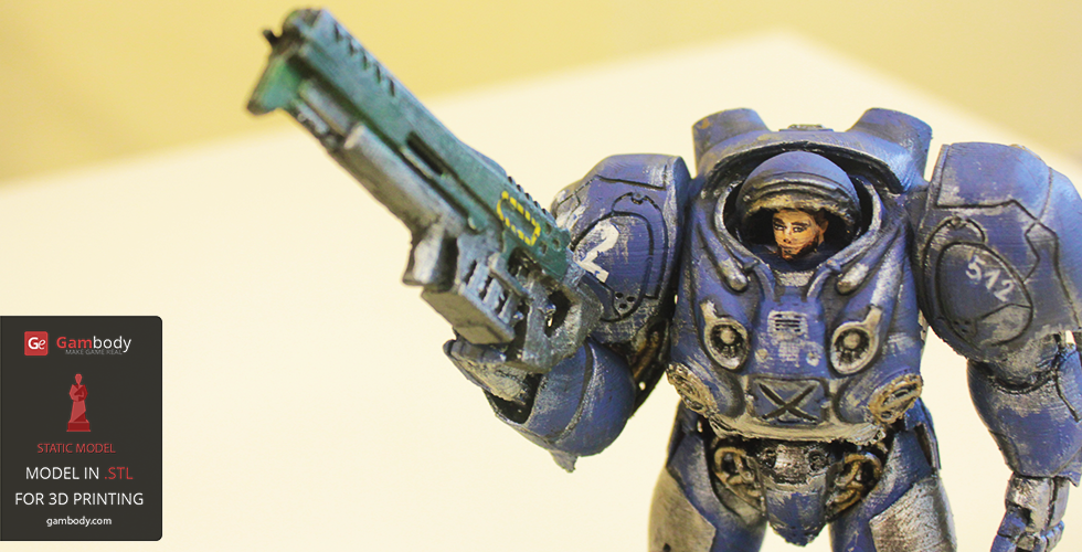 Painted 3D printed StarCraft Terran Space Marine 3D model