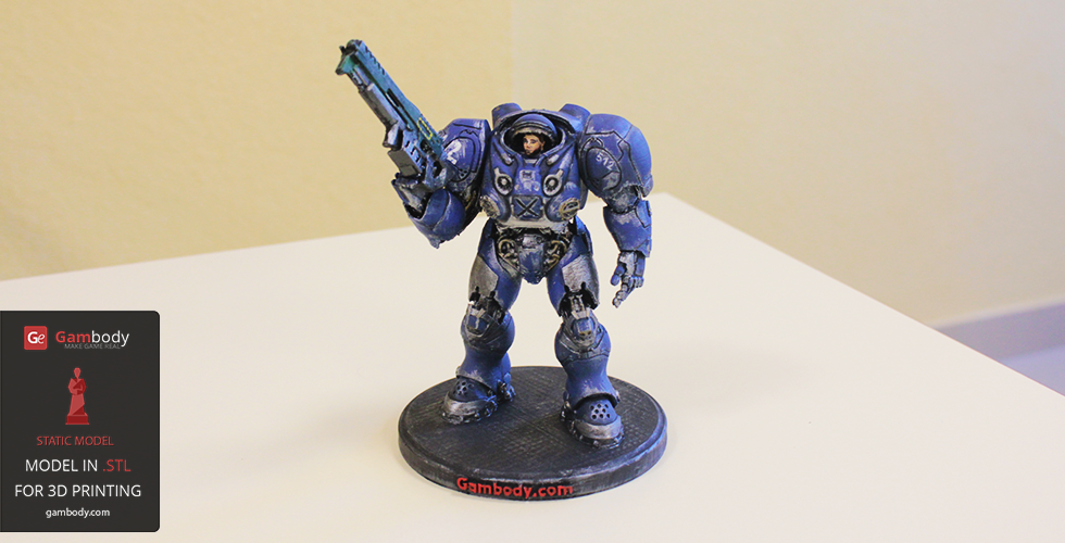 Painted Terran Space Marine figurine from StarCraft video game