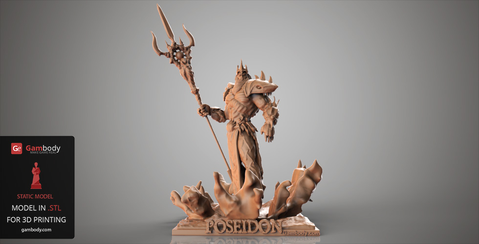 Poseidon, God of the Ocea Smite 3D prints