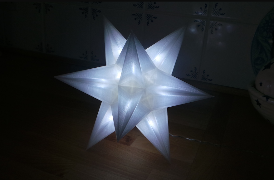 3D Printed Christmas Star with USB LED lamps