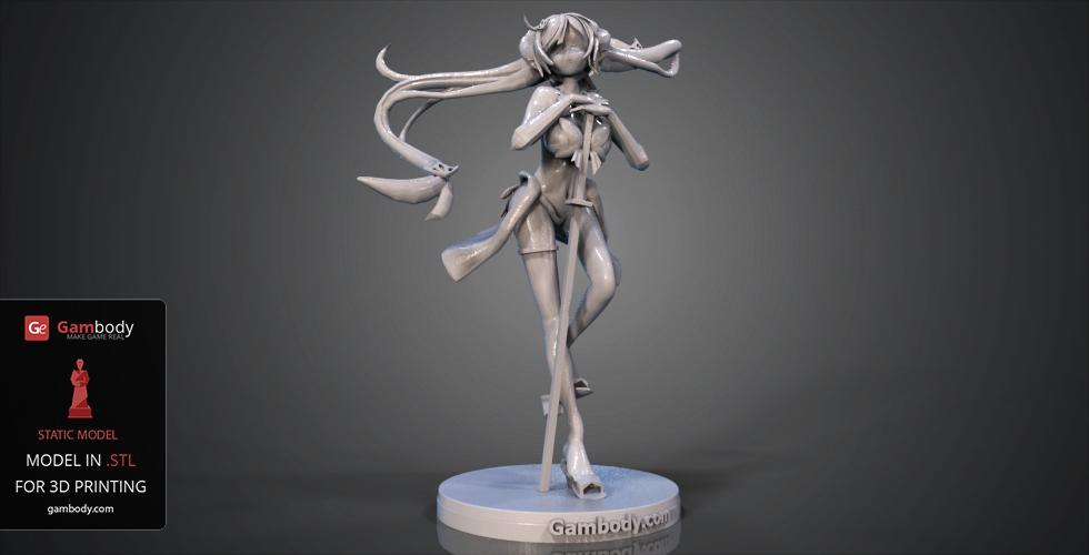 Anime Girl for 3D Printing