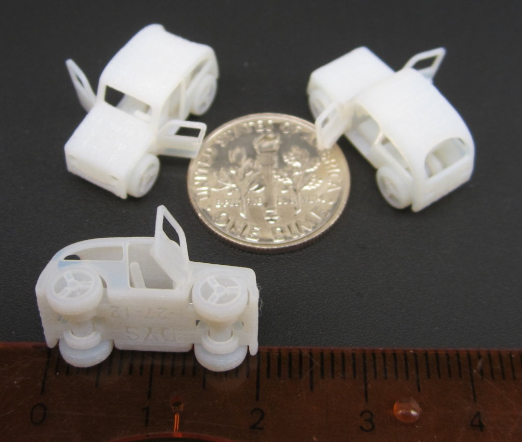 Miniature 3D printed toy cars