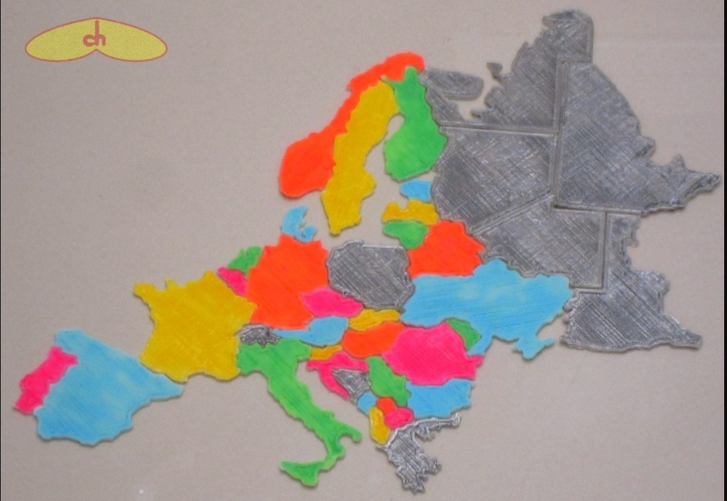 europe map 3d printed puzzle