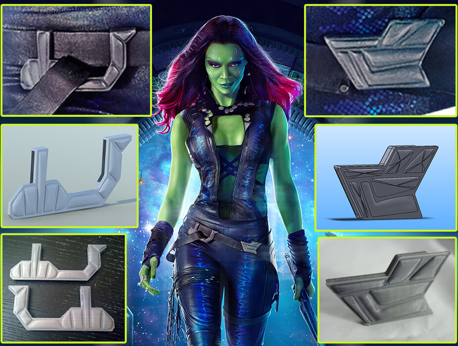 Gamora Belt Buckles for 3D Printing