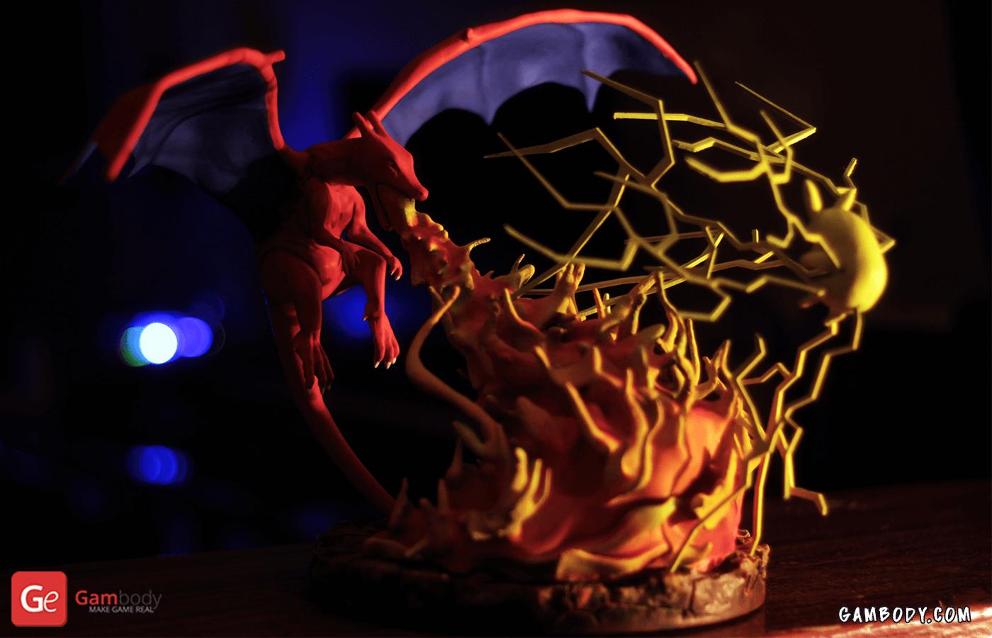 Pokemon, Charizard vs. Pikachu 3D printing Diorama