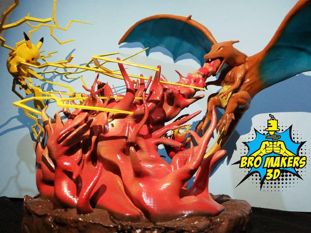 Pikachu and Charizard 3D Printing Diorama