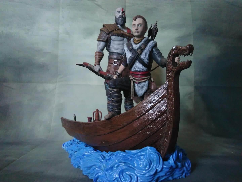 Old Kratos and Atreus 3D Printing Diorama