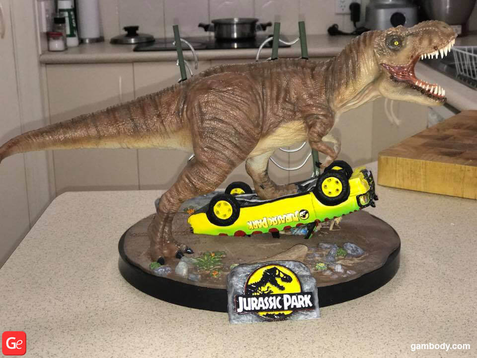 Jurassic Park 3D model printed on Anycubic I3 Mega affordable 3D printer for beginners