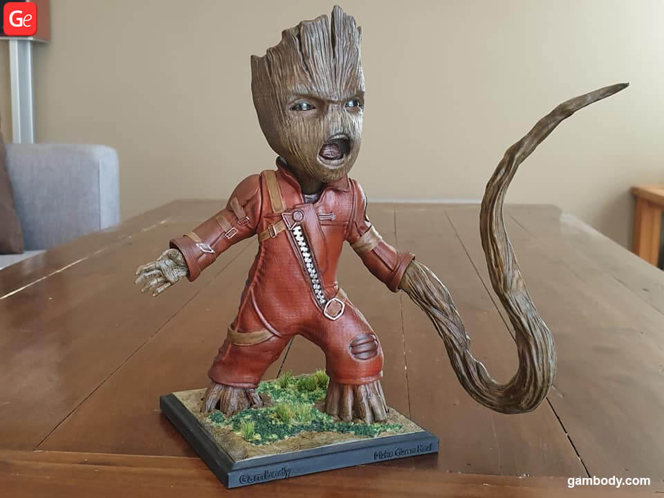 Baby Groot 3D model printed on cheap Ender 3 3D printer