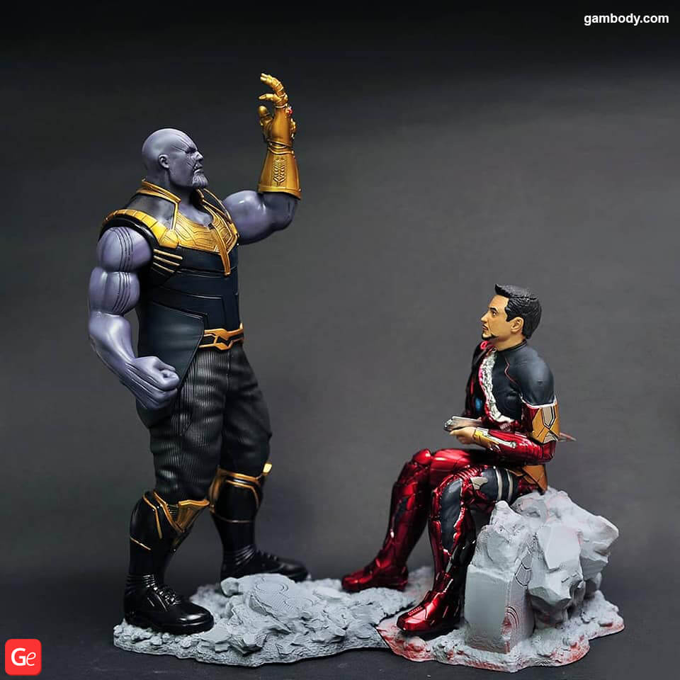 Thanos 3D printed alongside with Iron Man