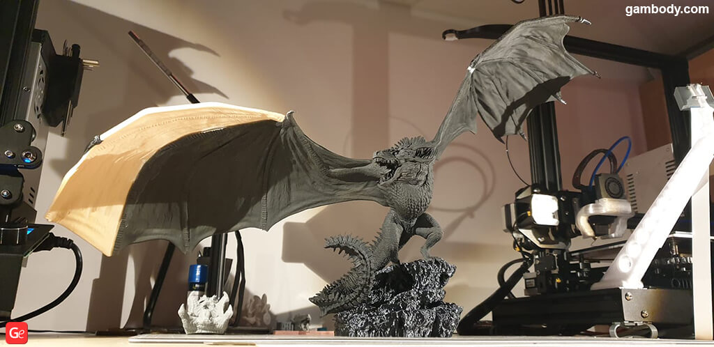 Viserion Ice Dragon printed on affordable 3D printer for beginners in 2019 Creality ender-3