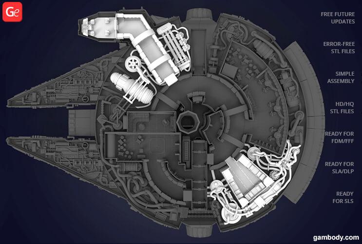 Millennium Falcon interior cockpit and engine